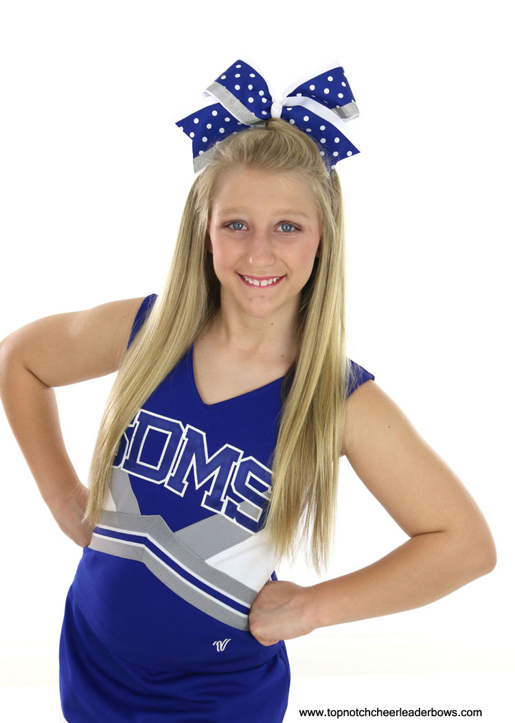 Blue Big Cheer Bow Royal White Cheerleader Bow Royal