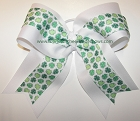 Shamrocks Green White Big Cheer Bow