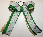Shamrocks Green Pink Gold Ponytail Holder Bow