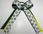 Soccer Green Yellow Ponytail Holder Bow