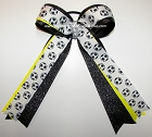 Soccer Black Glitter Neon Yellow Ponytail Holder