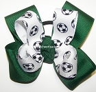 Soccer Ribbon Pigtail Team Color Choice Bow