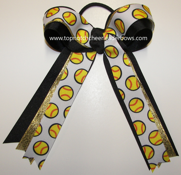 Bulk Softball Bow Black Gold Softball Hair Bow Softball
