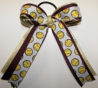 Softball Maroon Gold Ponytail Bow