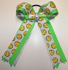 Softball Ribbons Neon Green Ponytail Bow