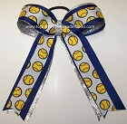 Softball Ribbons Royal Blue Silver Ponytail Holder Bow
