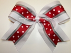 White Red Polka Dots Gray Big Cheer Bow