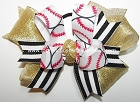 Baseball Black Gold Metallic Ponytail Hair Bow