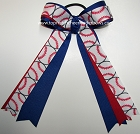 Baseball Red Blue Ponytail Holder Bow