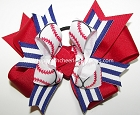 Baseball Red White Blue Ponytail Hair Bow