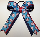 Baseball Blue Red Ponytail Bow
