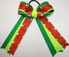 Basketball Sparkly Neon Lime Green Ponytail Holder Bow