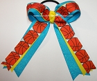 Basketball Sparkly Turquoise Yellow Ponytail Holder Bow
