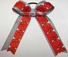 Basketball Gray Orange Ponytail Holder Bow