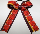 Basketball Maroon Yellow Gold Ponytail Holder Bow