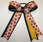Basketball Ribbons Navy Ponytail Holder Team Color Bow