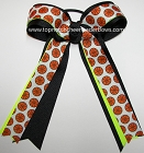 Basketball Neon Green Black Ponytail Holder Bow