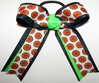 Basketball Neon Green Navy Glitter Ponytail Bow