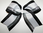 Big Cheer Bow Black White Silver