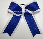 Glitter Blue White Ponytail Holder Bow