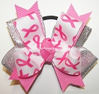 Breast Cancer Awareness Pigtail Hair Bow