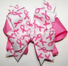 Breast Cancer Hot Pink Ponytail Hair Bow