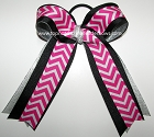 Chevron Hot Pink Black Silver Ponytail Holder