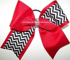 Glitzy Chevron Red Black Cheer Bow