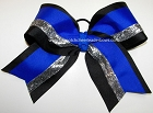 Electric Blue Black Silver Big Cheer Bow