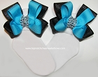 Sparkly Turquoise Black Bow Socks