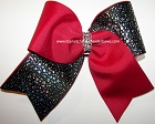 Glitzy Cranberry Red Black Foil Cheer Bow