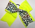Glitzy Leopard Neon Yellow Cheer Bow