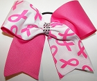 Glitzy Neon Pink Breast Cancer Cheer Bow