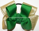 Green Gold Pigtail Cheer Hair Bow