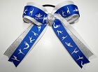 Gymnastics Royal Blue Silver White Ponytail Bow