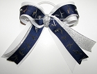 Gymnastics Navy Silver White Ponytail Bow