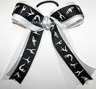 Gymnastics Black White Silver Metallic Ponytail Bow
