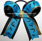 Gymnastics Turquoise Blue Black Gold Bow