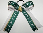 Gymnastics Green White Gold Metallic Ponytail Bow