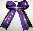 Gymnastics Purple Silver Black Glitter Ponytail Bow