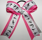 Gymnastics Silver Hot Pink Glitter Ponytail Bow