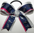 Gymnastics Navy Blue Silver Pink Ponytail Bow