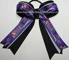 Gymnastics Purple White Black Ponytail Bow