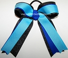 Turquoise Blue Black Glitter Ponytail Bow