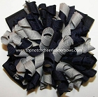 Korkers Navy Blue Gray Cheer Hair Bow