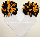 Korkers Black Yellow Gold Bows Girls Socks