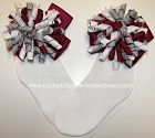 Korkers Wine Gray White Bows Girls Socks