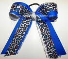 Leopard Electric Blue Silver Ponytail Cheer Bow