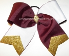 Tic Toc Maroon White Gold Cheer Bow
