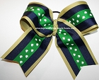 Navy Gold Shamrock Big Cheer Bow